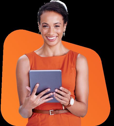 Mulher segurando tablet