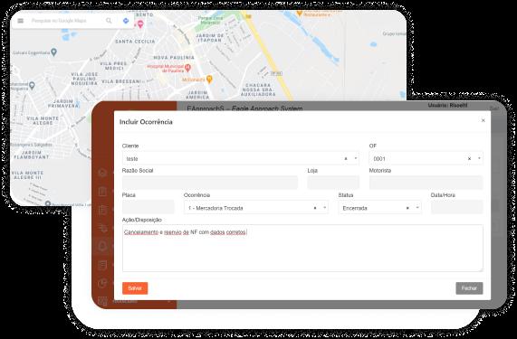 Mapa e imagem do aplicativo Carga24h no celular
